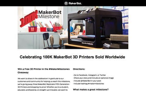 Screenshot of Landing Page makerbot.com - Celebrating 100K MakerBot 3D Printers Sold Worldwide - captured Oct. 21, 2016