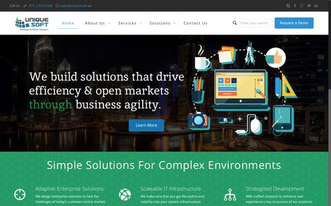 Screenshot of Home Page uniquesoft.co - Unique Soft Network & IT Solutions - captured March 13, 2016