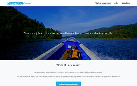 Screenshot of Jobs Page leisurekart.com - Leisurekart Careers - Find a Job You Love - captured Aug. 1, 2017