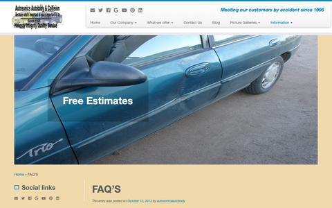 Screenshot of FAQ Page autosonicsautobody.com - FAQ'S - captured Oct. 4, 2018