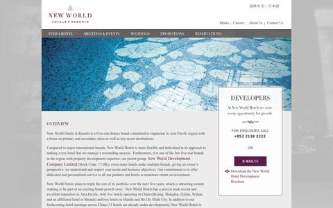 Screenshot of Developers Page newworldhotels.com - Hotel development and hotel management in China, Asia | New World Hotels & Resorts - captured Sept. 23, 2014