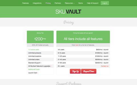 Screenshot of Pricing Page skuvault.com - SkuVault Warehouse Management System · Pricing - captured Sept. 24, 2014