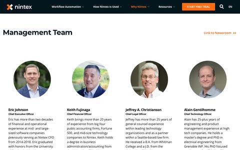 Screenshot of Team Page nintex.com - Nintex Senior Leadership Team - captured Feb. 8, 2019