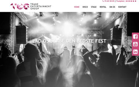 Screenshot of Home Page teg.dk - Trane Entertainment Group – TEG Disco, TEG Stage, TEG Rental. - captured Oct. 20, 2018