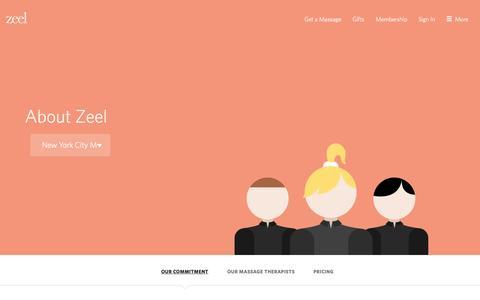 Screenshot of About Page zeel.com - About Zeel | In-Home Massage | Zeel Massage On Demand - captured Nov. 17, 2015