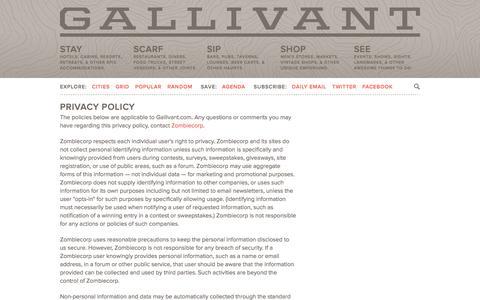 Screenshot of Privacy Page gallivant.com - Privacy | Gallivant - captured Oct. 31, 2014