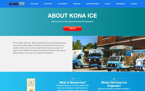 Screenshot of About Page kona-ice.com - About Kona Ice - captured Feb. 12, 2019
