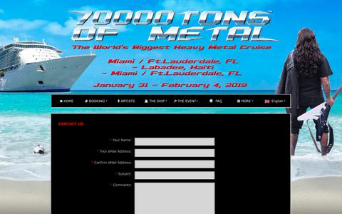 Screenshot of Contact Page 70000tons.com - CONTACT US | 70000TONS OF METAL - The World's Biggest Heavy Metal Cruise - captured Sept. 22, 2018