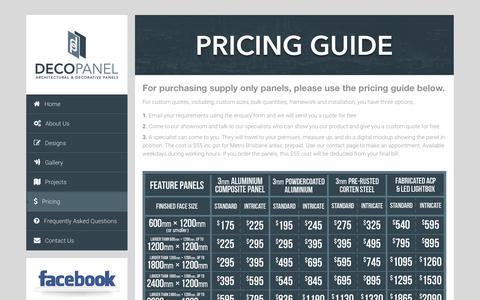 Screenshot of Pricing Page decopaneldesigns.com.au - Pricing Guide – DecoPanel Designs, Australia - captured Nov. 24, 2016