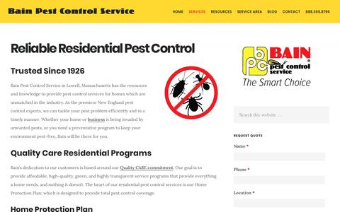 Screenshot of Services Page bainpestcontrol.com - Residential Pest Control in New England | Bain Pest Control Service - captured Oct. 5, 2018