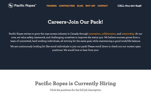Screenshot of Jobs Page pacificropes.com - Careers-Join Our Pack! | Pacific Ropes - captured Jan. 24, 2016