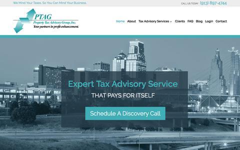 Screenshot of Home Page ptag.com - Property Tax Advisory Group | Leawood, KS | (913) 897-4744 - captured Sept. 18, 2017