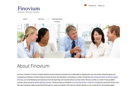 Screenshot of About Page finovium.com - About Finovium Consulting - equity and business consulting services - captured Feb. 10, 2016