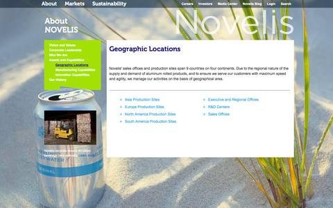 Screenshot of Locations Page novelis.com - Geographic Locations - captured Sept. 22, 2014