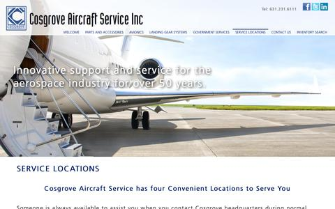 Screenshot of Locations Page cosgroveaircraft.com - Cosgrove Aircraft Service - Innovative support and service in 4 convenient Locations - captured Nov. 11, 2018