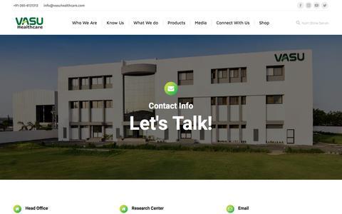 Screenshot of Contact Page vasuhealthcare.com - Contact Us - Vasu Healthcare - captured Sept. 20, 2018