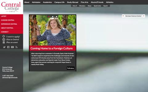 Screenshot of Home Page central.edu - Home - Central College - captured Oct. 2, 2014