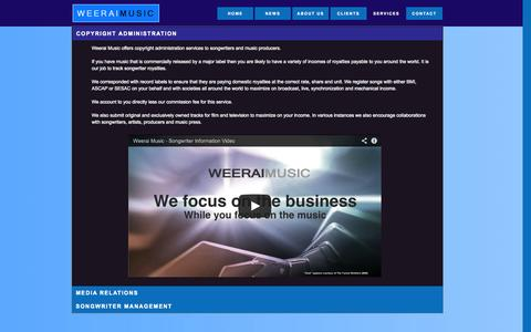 Screenshot of Services Page weeraimusic.com - SERVICES - captured Oct. 26, 2014