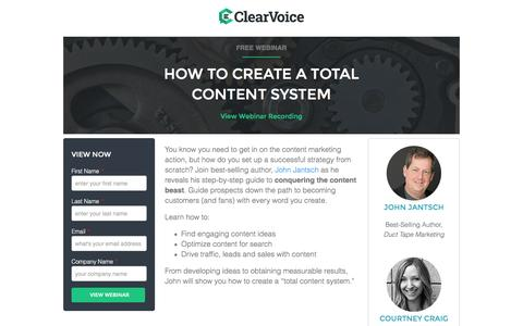 Screenshot of Landing Page clearvoice.com - How To Create a Total Content System | ClearVoice - captured Aug. 25, 2016