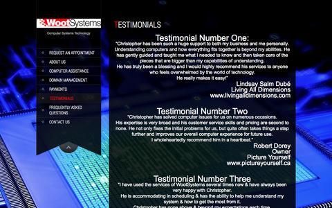 Screenshot of Testimonials Page wootsystems.com - Testimonials | WootSystems - captured Oct. 7, 2014