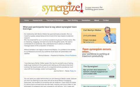Screenshot of Testimonials Page energizeyourworkforce.com - Testimonials   synergize! - captured Oct. 6, 2014