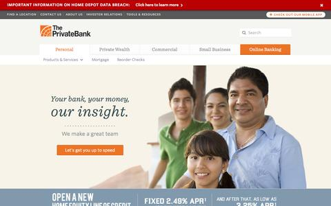 Screenshot of Home Page theprivatebank.com - The PrivateBank | Personal Banking - captured Sept. 24, 2014