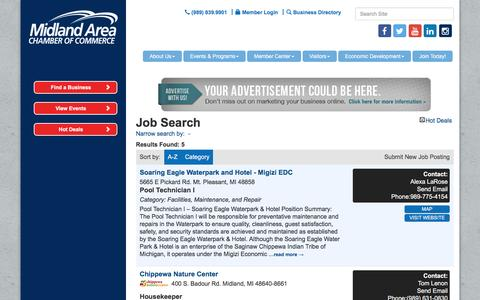 Screenshot of Jobs Page macc.org - Job Search - Midland Area Chamber of Commerce, MI - captured Nov. 28, 2016