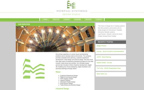 Screenshot of Services Page morphosis.ca - OUR SERVICES « - captured Oct. 3, 2014