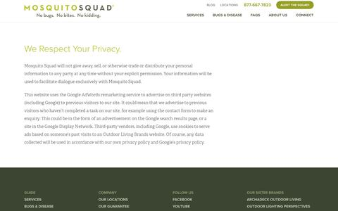 Screenshot of Privacy Page mosquitosquad.com - Privacy Policy   Mosquito Squad - captured Oct. 26, 2014