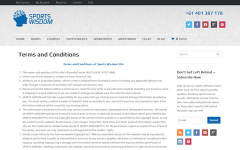 Screenshot of Terms Page sportswisdom.com.au - Terms and Conditions | - captured Sept. 26, 2014