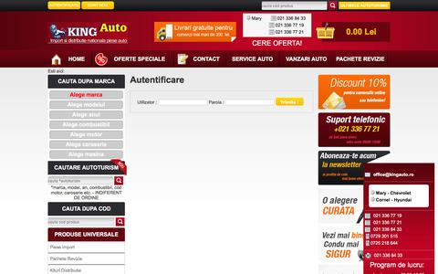 Screenshot of Login Page kingauto.ro - Autentificare | www.kingauto.ro - captured Feb. 12, 2016