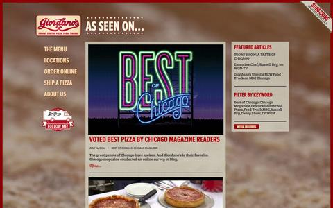 Screenshot of Press Page giordanos.com - Media - Giordano's Famous Chicago Pizza - captured Sept. 23, 2014
