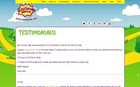 Screenshot of Testimonials Page karismakidz.co.uk - Testimonials  Karisma Kidz - captured Sept. 13, 2014
