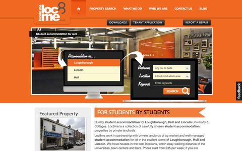 Screenshot of Home Page loc8me.co.uk - Loughborough Student Accommodation | Loc8Me - captured Dec. 10, 2015