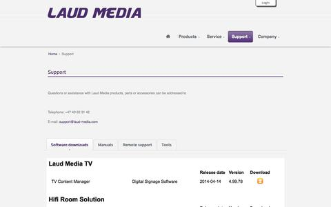 Screenshot of Support Page laud-media.com - Laud Media  - Support - captured Oct. 2, 2014