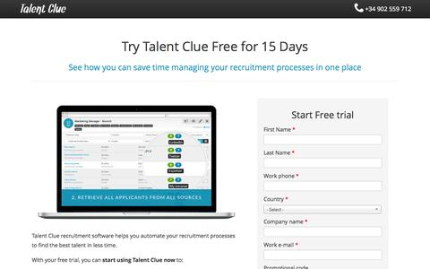 Screenshot of Trial Page talentclue.com - Recruitment Software | Try for free Talent Clue - captured Oct. 27, 2014
