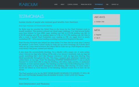 Screenshot of Testimonials Page theperfectcalcium.com - Testimonials | Pearlcium - captured Oct. 28, 2016