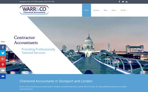 Screenshot of Home Page warr.co.uk - Chartered Accountants in Stockport & London | Contractors | SME - captured Oct. 20, 2018