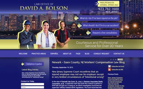 Screenshot of Blog bolsonlaw.com - Newark - Essex County, NJ Workers' Compensation Law Blog - Newark NJ Workers Compensation Personal Injury Lawyer - captured July 19, 2017