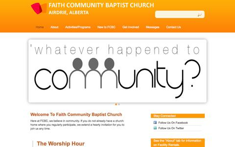 Screenshot of Home Page fcbcairdrie.com - Faith Community Baptist Church - captured Oct. 5, 2014
