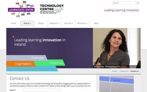 Screenshot of Contact Page learnovatecentre.org - Contact Us | Learnovate Centre | Technology Centre for Learning Innovation | - captured July 20, 2015