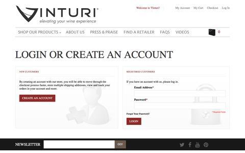 Screenshot of Login Page vinturi.com - Vinturi Essential Wine Aerators - captured Dec. 13, 2016