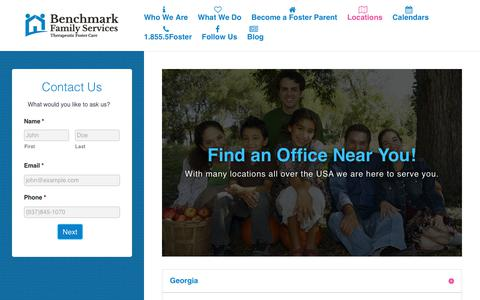 Screenshot of Contact Page Locations Page benchmarkfamilyservices.org - Benchmark Family Services Locations - Benchmark Family Services - captured Aug. 1, 2018