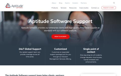 Screenshot of Support Page aptitudesoftware.com - Support - Aptitude Software - captured May 28, 2019