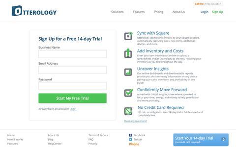 Screenshot of Signup Page otterology.com - Sign Up :: Otterology Inventory Management - captured Sept. 17, 2014