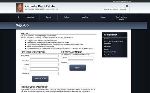 Screenshot of Login Page galanterealestate.com - Real Estate Website Registration - captured Feb. 10, 2016