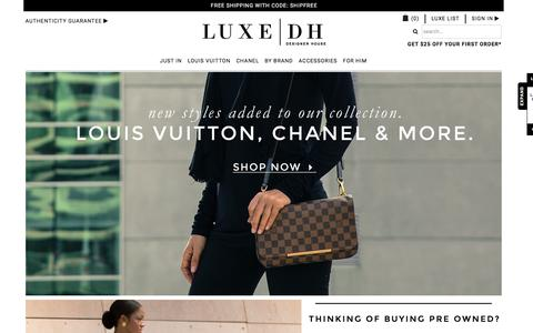 Screenshot of Home Page luxedh.com - Discount Pre Owned Louis Vuitton Handbags, Discount Vintage Chanel Handbags & More.  | Luxe Designer House - captured Jan. 14, 2016