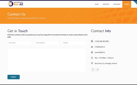 Screenshot of Contact Page betall.ie - Betall.ie Contact – Top Bookmakers, Online Betting, Sports Betting Online - captured Oct. 3, 2014
