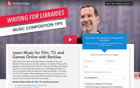 Screenshot of Landing Page berklee.edu - Learn Music Composition with Berklee Online - captured Oct. 20, 2016