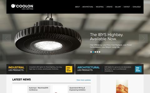 Screenshot of Home Page coolon.com.au - Coolon LED Lighting Products - Melbourne, Australia - captured Oct. 3, 2014